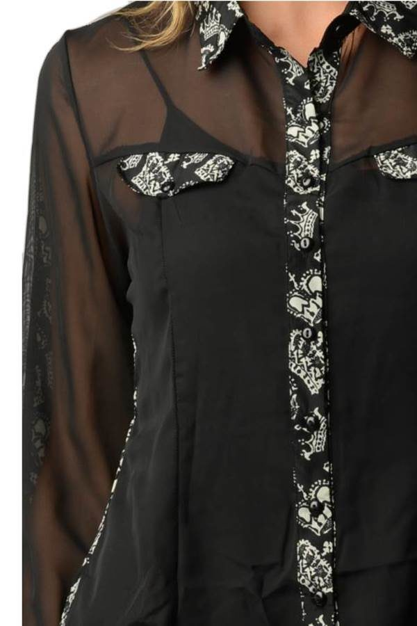 Crown Printed Chiffon Shirt