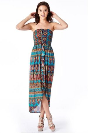 Bohemian Print Strapless Dress