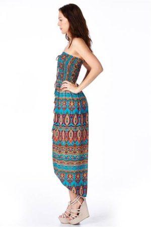 Bohemian Print Strapless Dress