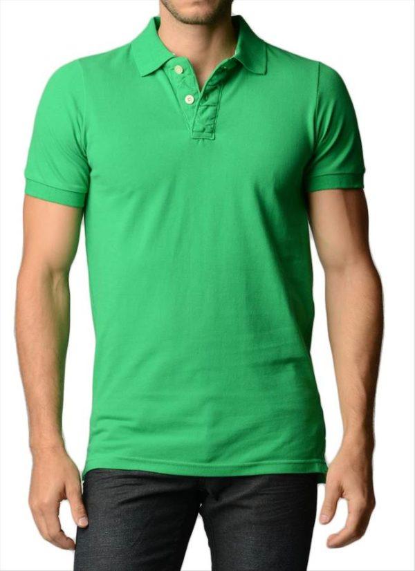 Men's Cotton Slim Fit Green Polo Shirt