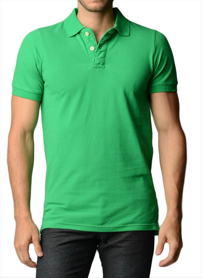 Men's Cotton Slim Fit Green Polo Shirt