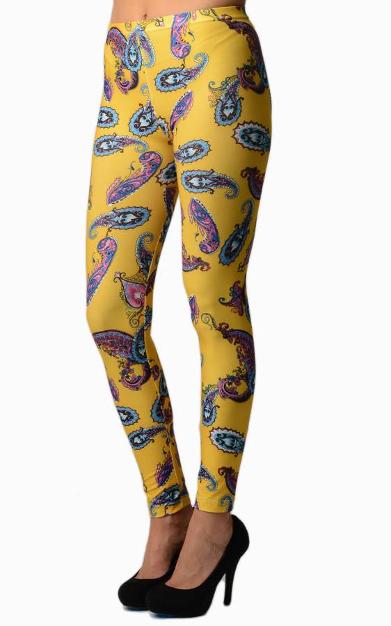 Yellow Paisley Plus Size Leggings