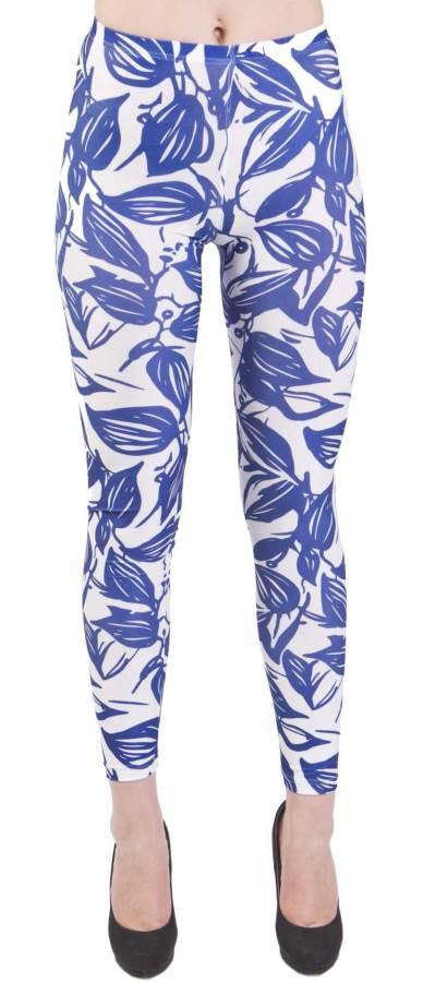 Blue Leaf Silhouette Plus Size Leggings