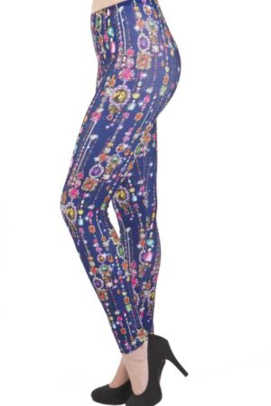 Plus Size Dripping Jewels Footless Leggings