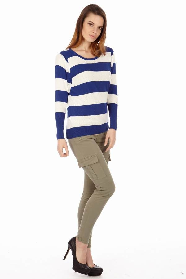 Blue Stripe Knit Pointelle Sweater