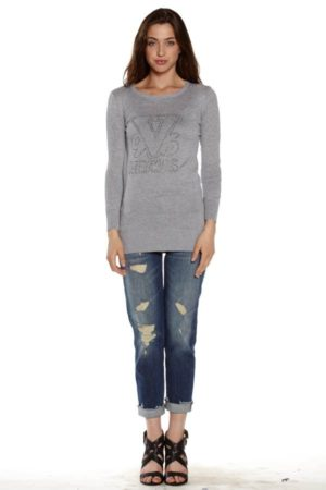 Gray Crew Neck Tunic