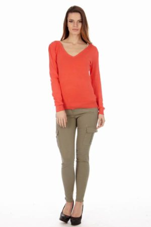 Women's Cotton Long Sleeve V-Neck Sweater