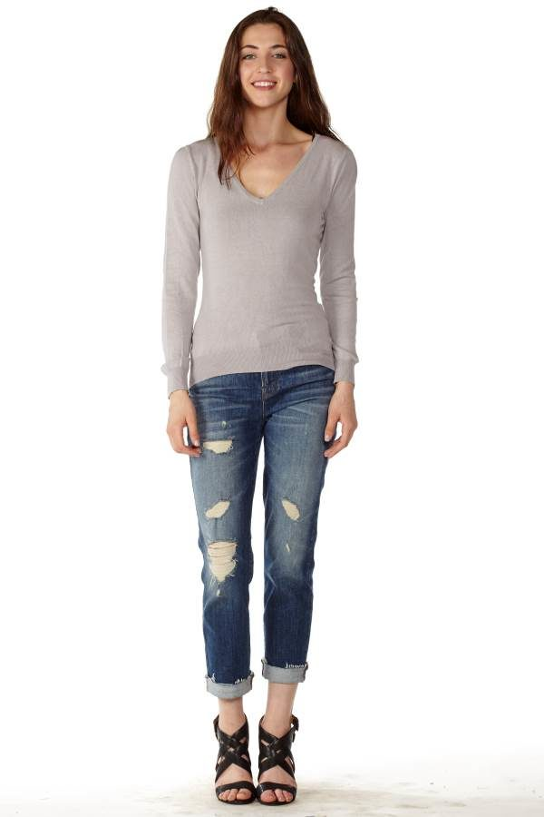 Women's Cotton Long Sleeve V-Neck Sweater