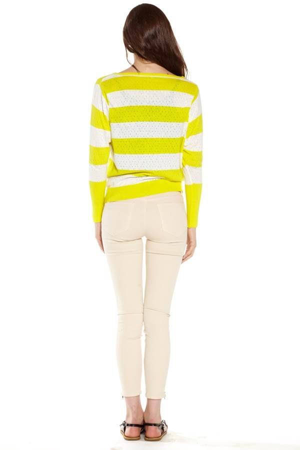 Yellow Stripe Pointelle Sweater