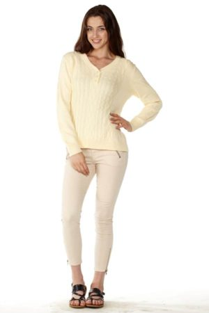 Yellow Pointelle Sweater