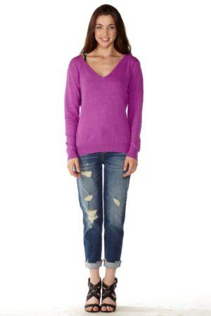 Purple V-Neck Sweater