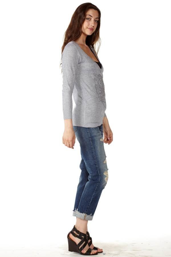 Light Grey V-Neck Sweater