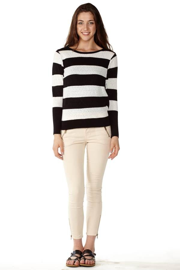 Stripe Knit Pointelle Sweater