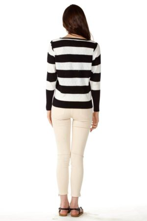 Stripe Knit Pointelle Sweater