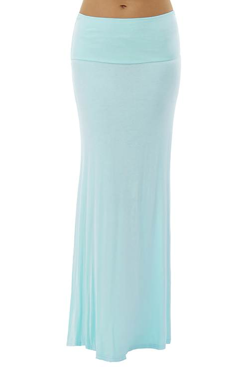 Fold Over Sky Colored Maxi Skirt