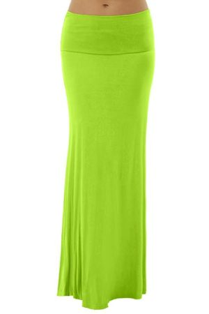 Apple Green Foldover Maxi Skirt