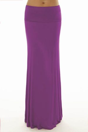 Fold Over Dusty Purple Maxi Skirt
