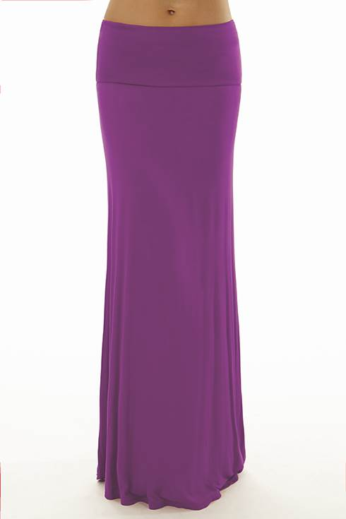 Fold Over Dusty Purple Maxi Skirt