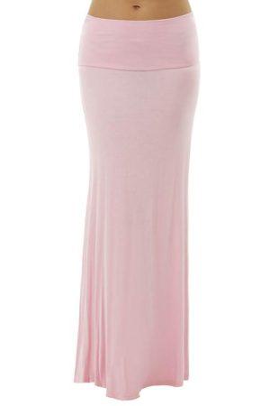 Fold Over Pink Maxi Skirt