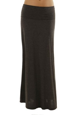 Fold Over Dark Gray Maxi Skirt