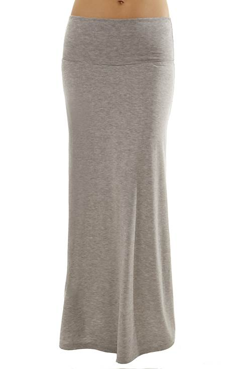 Foldover Light Grey Maxi Skirt