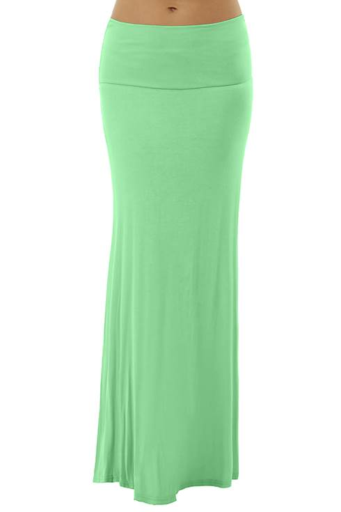 Fold Over Mint Maxi Skirt
