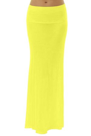 Fold Over Yellow Maxi Skirt