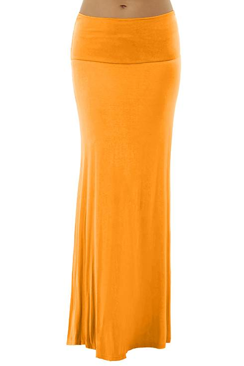 Fold Over Orange Maxi Skirt