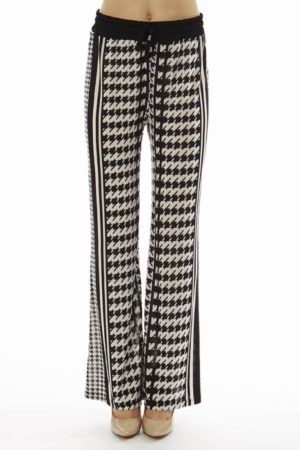 Houndstooth Stripe Wide Leg Palazzo's