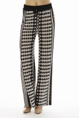 Houndstooth Stripe Wide Leg Palazzo's