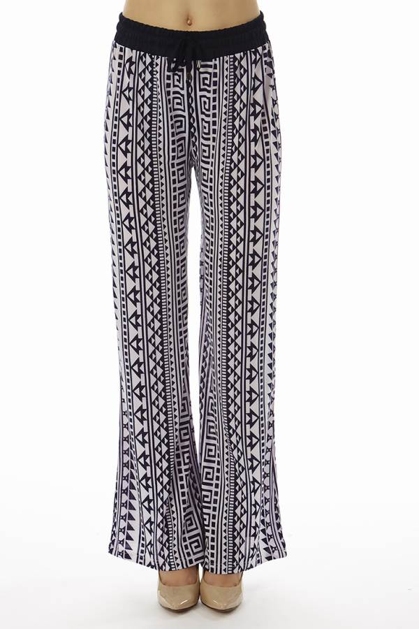 Geometric Print Flared Pants