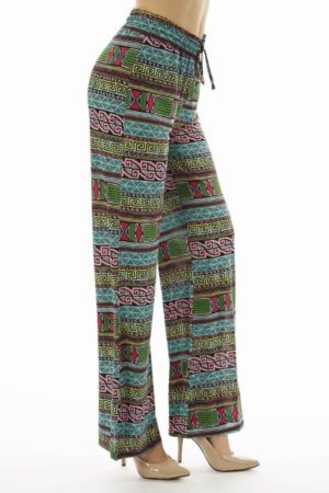Flared Vibrant Tribal Palazzo Pants