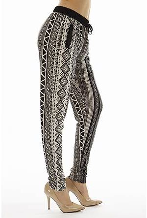 Printed Tribal High Waisted Joggers