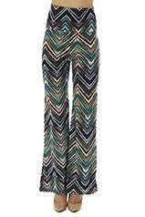High Waisted Teal Zig-Zag Bell Bottoms