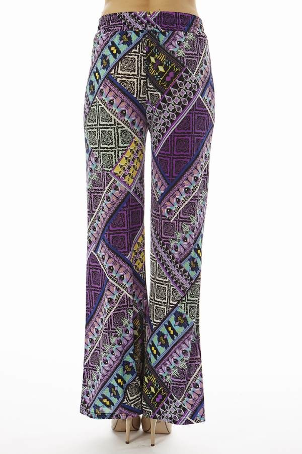 Purple Tribal Patch Flared Palazzo Bottoms