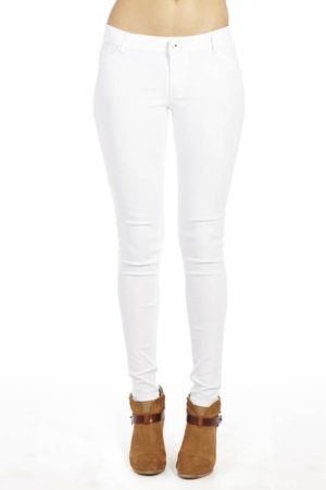 White Stretchy Slim Fit Pants