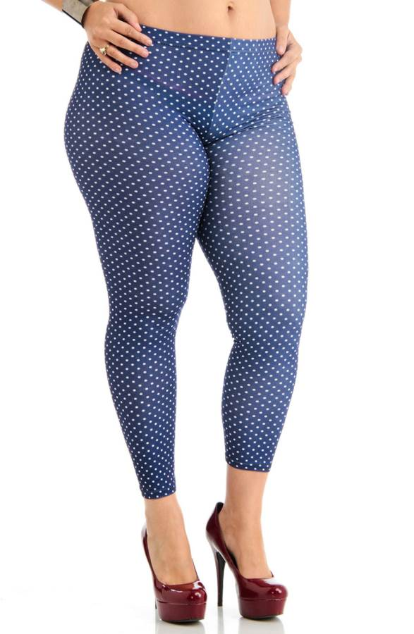 Plus Size Polka Dot Navy Blue Ankle Leggings Sizes: 1X, 2X ...