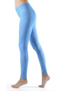 Baby Blue Denim Print Ankle Leggings