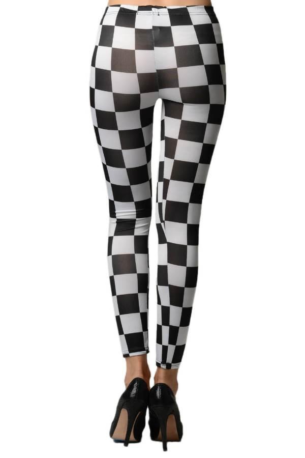 5e0d84e37fdc9 Black And White Checkered Leggings - Fashion Outlet NYC