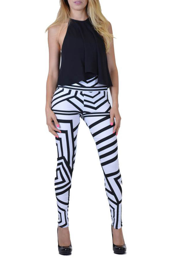 Black And White Tribal Lines Print Jeggings