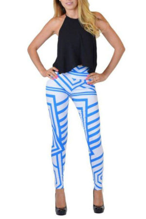 Blue And White Tribal Lines Print Jeggings