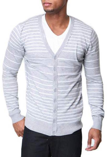 Men's Slim Fit White Stripe V Neck Grey Cardigan