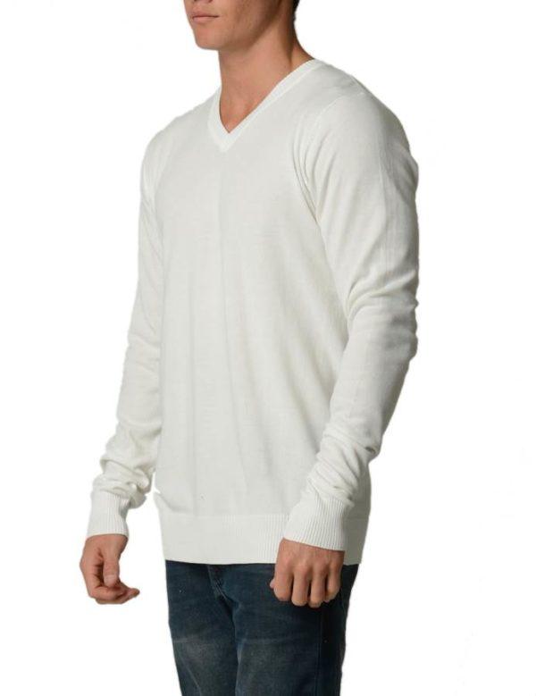 Cream Cotton V-Neck Slim-Fit Sweater
