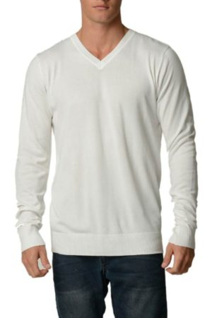 Cream Cotton V-Neck Slim-Fit Sweater