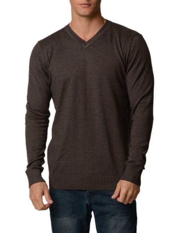 Coffee Cotton V-Neck Slim-Fit Sweater