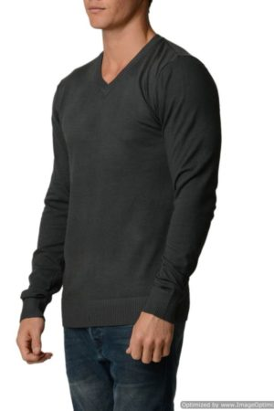 D.Grey Cotton V-Neck Slim-Fit Sweater