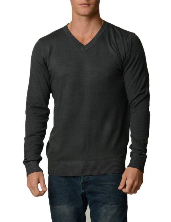 D.Grey Cotton V-Neck Slim-Fit Sweater
