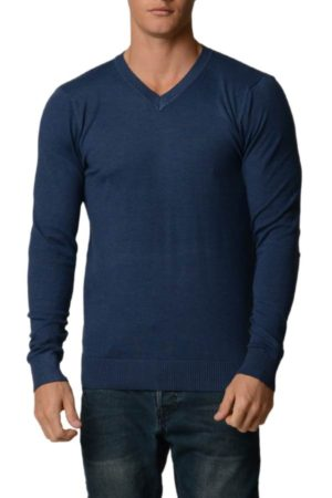 Egyptian Blue Cotton V-Neck Slim-Fit Sweater