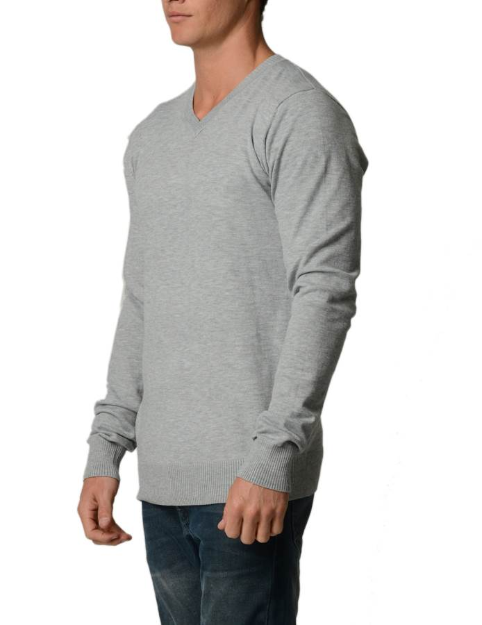 L.Grey Cotton V-Neck Slim-Fit Sweater