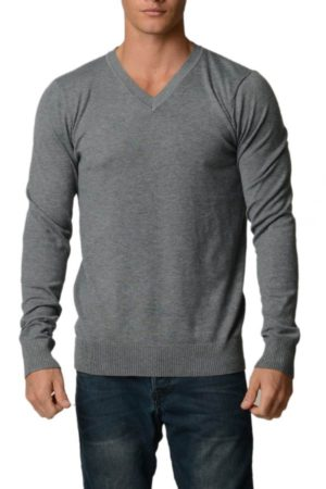 Charcoal Grey Melange Cotton V-Neck Slim-Fit Sweater